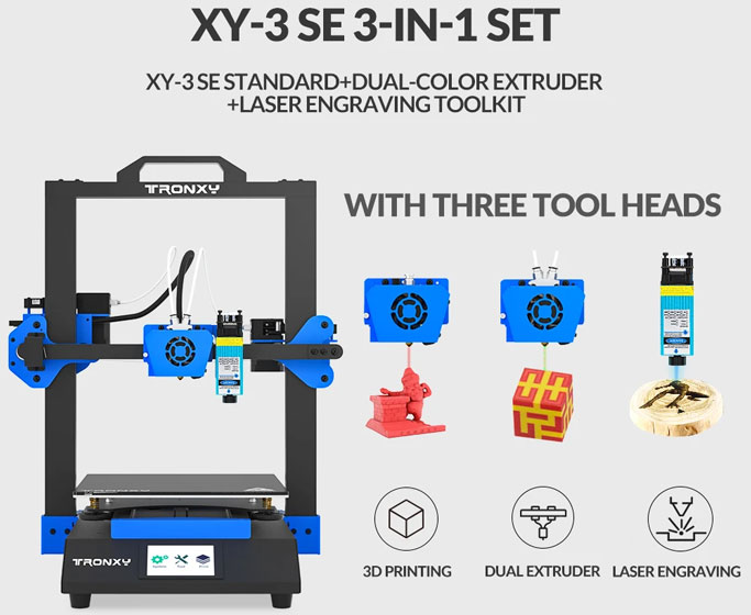 Tronxy XY-3 SE - Dual Extruder and Laser Engraving Modules